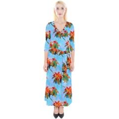 Palm Trees Sunset Glow Quarter Sleeve Wrap Maxi Dress