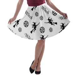 Witches And Pentacles A Line Skater Skirt by IIPhotographyAndDesigns