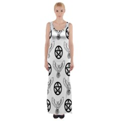 Owls And Pentacles Maxi Thigh Split Dress by IIPhotographyAndDesigns