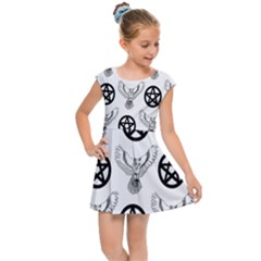 Owls And Pentacles Kids Cap Sleeve Dress by IIPhotographyAndDesigns