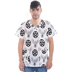 Owls And Pentacles Men s V Neck Scrub Top by IIPhotographyAndDesigns