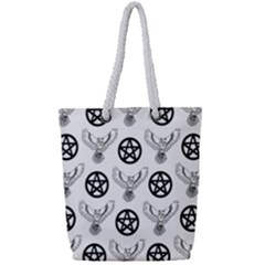 Owls And Pentacles Full Print Rope Handle Tote (small)