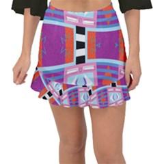 Mirrored Distorted Shapes                               Fishtail Mini Chiffon Skirt by LalyLauraFLM