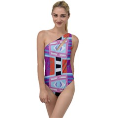 Mirrored Distorted Shapes                                   To One Side Swimsuit