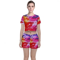 Red Purple Paint                               Crop Top And Shorts Co Ord Set