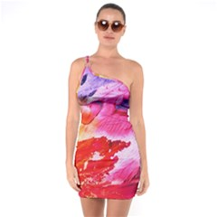 Red Purple Paint                             One Shoulder Ring Trim Bodycon Dress by LalyLauraFLM