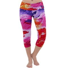Red Purple Paint                                      Capri Yoga Leggings