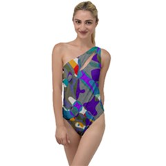 Blue Purple Shapes                                     To One Side Swimsuit