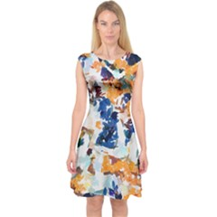 Paint On A White Background                                       Capsleeve Midi Dress