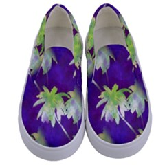 Palm Trees Hot Summer Nights Kids  Canvas Slip Ons