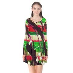 Easter 2 Long Sleeve V Neck Flare Dress