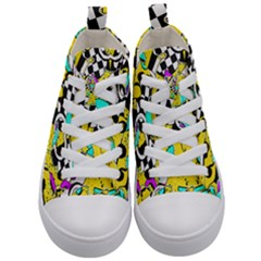 Shapes On A Yellow Background                                 Kid s Mid Top Canvas Sneakers