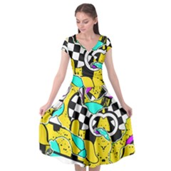 Shapes On A Yellow Background                           Cap Sleeve Wrap Front Dress