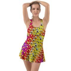 Festive Music Tribute In Rainbows Ruffle Top Dress Swimsuit