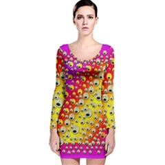 Festive Music Tribute In Rainbows Long Sleeve Velvet Bodycon Dress