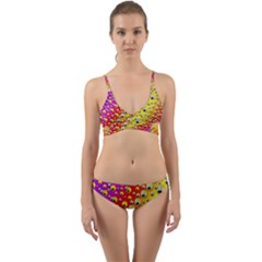 Festive Music Tribute In Rainbows Wrap Around Bikini Set