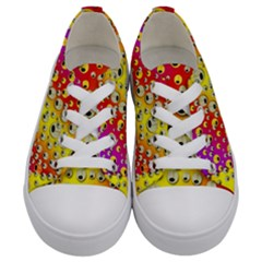 Festive Music Tribute In Rainbows Kids  Low Top Canvas Sneakers
