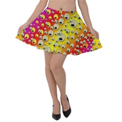 Festive Music Tribute In Rainbows Velvet Skater Skirt