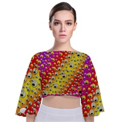 Festive Music Tribute In Rainbows Tie Back Butterfly Sleeve Chiffon Top