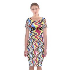 Colorful Tropical Waves Created By Flipstylez Designs Classic Short Sleeve Midi Dress