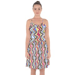 Colorful Tropical Waves Created By Flipstylez Designs Ruffle Detail Chiffon Dress