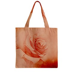 Wonderful Rose In Soft Colors Zipper Grocery Tote Bag