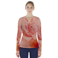 Wonderful Rose In Soft Colors V Neck Long Sleeve Top