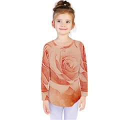 Wonderful Rose In Soft Colors Kids  Long Sleeve Tee