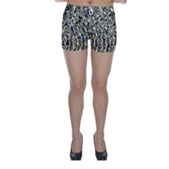 Gold Black And White Waves Created By Flipstylez Designs Skinny Shorts