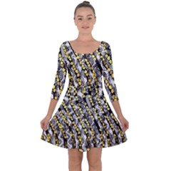 Gold Black And White Waves Created By Flipstylez Designs Quarter Sleeve Skater Dress