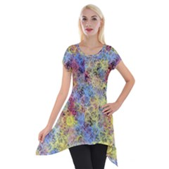 Different Multi Color Spots Created By Flipstylez Designs Short Sleeve Side Drop Tunic by flipstylezdes