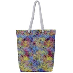 Different Multi Color Spots Created By Flipstylez Designs Full Print Rope Handle Tote (small)