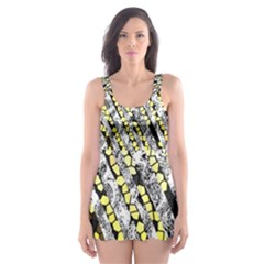 Bright Gold Black And White Waves Created By Flipstylez Designs Skater Dress Swimsuit
