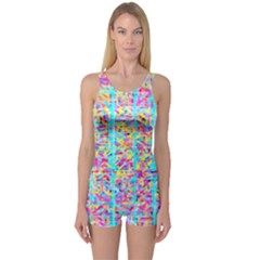 Bright Tropical Watercolors Created By Flipstylez Designs One Piece Boyleg Swimsuit