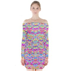 Beautiful Bright Tropical Watercolors Created By Flipstylez Designs Long Sleeve Off Shoulder Dress