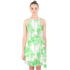 Palm Trees Tropical Beach Pattern  Halter Collar Waist Tie Chiffon Dress