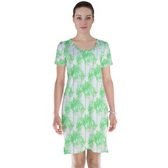 Palm Trees Green Pink Small Print Short Sleeve Nightdress