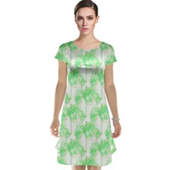 Palm Trees Green Pink Small Print Cap Sleeve Nightdress