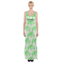 Palm Trees Green Pink Small Print Maxi Thigh Split Dress