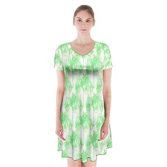 Palm Trees Green Pink Small Print Short Sleeve V Neck Flare Dress