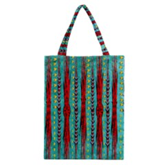 Bluegreen Background Red And Orange Seamless Design Created By Flipstylez Designs Classic Tote Bag
