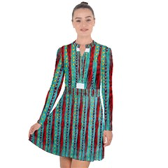 Bluegreen Background Red And Orange Seamless Design Created By Flipstylez Designs Long Sleeve Panel Dress