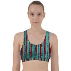 Bluegreen Background Red And Orange Seamless Design Created By Flipstylez Designs Back Weave Sports Bra