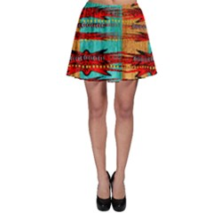 Exotic Blue Green Red And Orange Design Created By Flipstylez Designs Skater Skirt