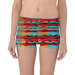 Exotic Blue Green Red And Orange Design Created By Flipstylez Designs Reversible Boyleg Bikini Bottoms