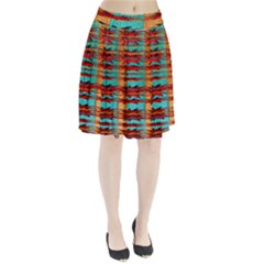 Exotic Blue Green Red And Orange Design Created By Flipstylez Designs Pleated Skirt