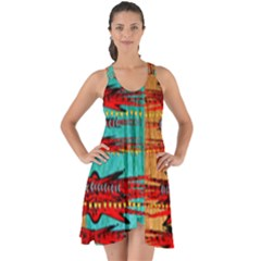 Exotic Blue Green Red And Orange Design Created By Flipstylez Designs Show Some Back Chiffon Dress by flipstylezdes