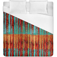 Stretched Exotic Blue Green Red And Orange Design Created By Flipstylez Designs Duvet Cover (king Size) by flipstylezdes