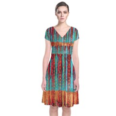 Stretched Exotic Blue Green Red And Orange Design Created By Flipstylez Designs Short Sleeve Front Wrap Dress