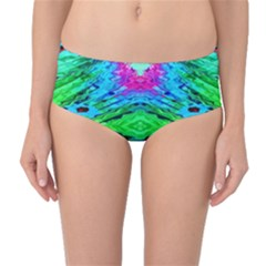 The Tropical Watercolor Peacock Feather Created By Flipstylez Designs  Mid Waist Bikini Bottoms